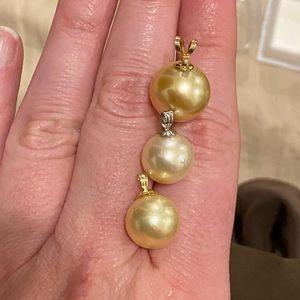 Jewelry - 💯 14K 14.5mm + 12mm YG/WG South Sea Pearl Pendant